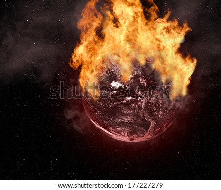 Burning cracked Planet Earth. Elements of this image furnished by NASA. - stock photo