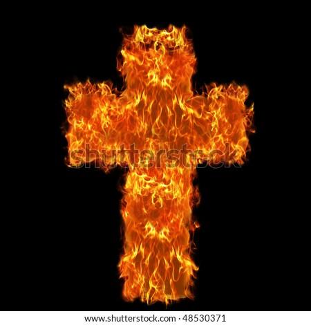Burning cross - stock photo