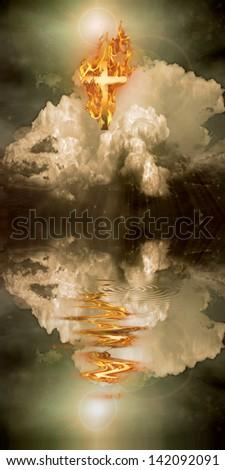 Burning Cross Hangs in Sky over Water - stock photo