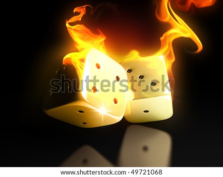 Burning dice in hell - stock photo