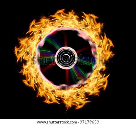 Burning disc - stock photo