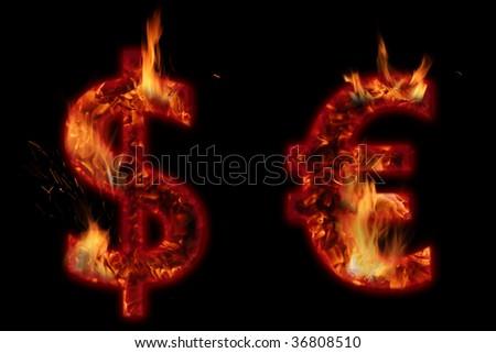 burning dollar and euro on black background - stock photo