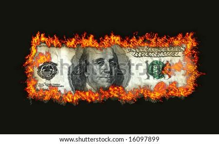 Burning dollars close up over black background - stock photo