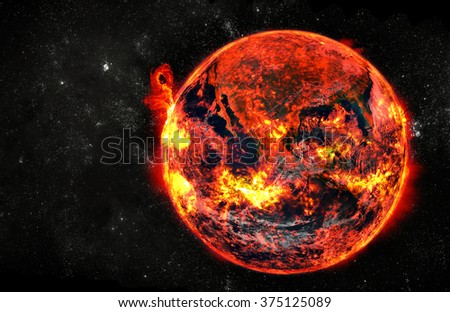 Burning earth at cosmos. Elements of this image furnished by NASA - stock photo