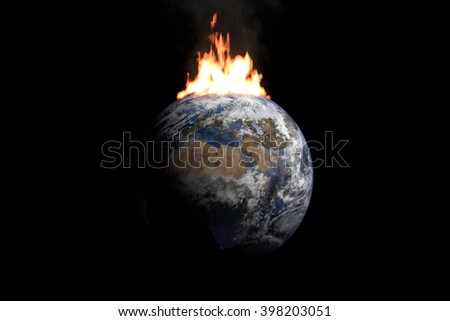 Burning Earth.  Digitally generated model of Planet Earth based on  reference images of NASA. Elements of this image furnished by NASA - stock photo