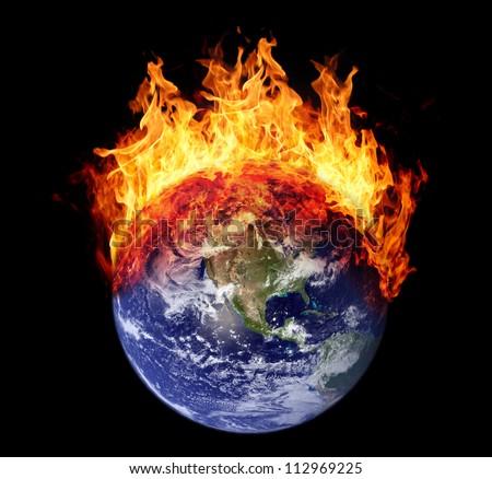 Burning earth globe west hemisphere (without gloving) (elements furnished by NASA) - stock photo