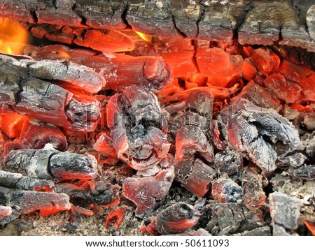 burning embers - stock photo