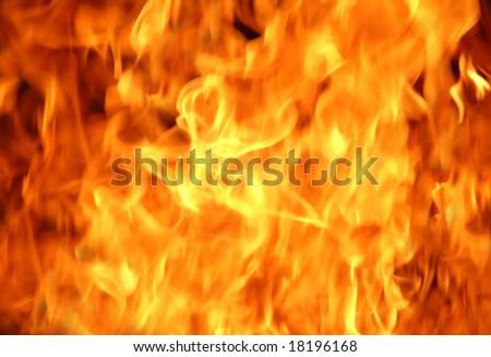 Burning fire and flames close-up, suitable for background - stock photo