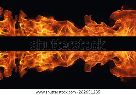burning fire flame frame on black background - stock photo