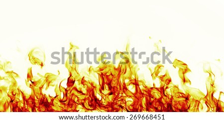burning fire flame on white background - stock photo