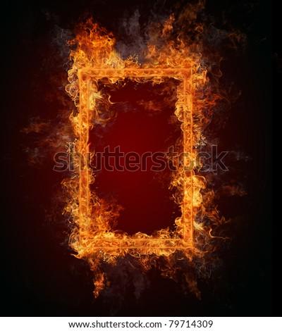 Burning fire frame - stock photo