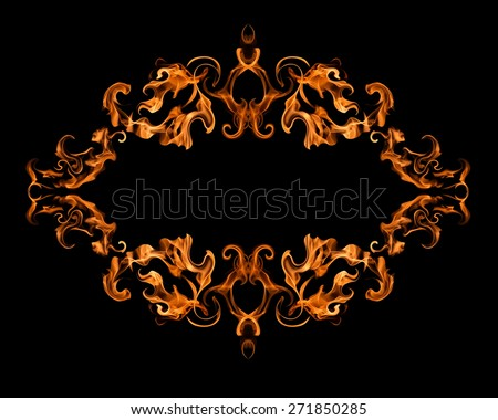 Burning fire frame on black background - stock photo