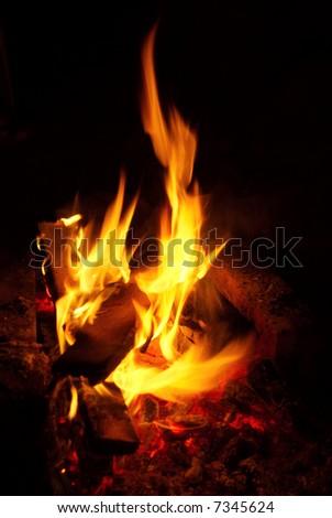 Burning fire in the dark - stock photo