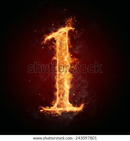 Burning fire number isolated on black background - stock photo