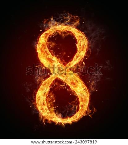Burning fire number isolated on black background - stock photo
