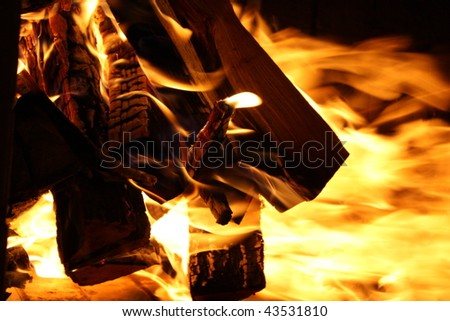 Burning fire wood in a fireplace