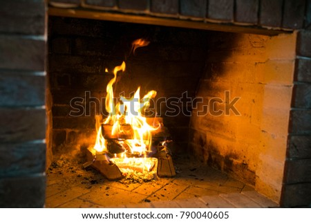 Burning fireplace. Fireplace as a piece of furniture