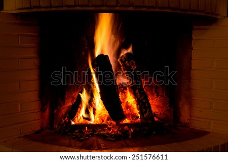 Burning fireplace with firewood and glowing ashes