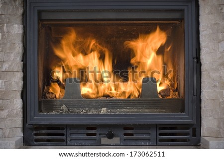 Burning firewood in a hearth of a fireplace