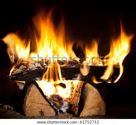 burning firewood in heater - stock photo