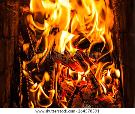 burning firewood in the fire-place - stock photo