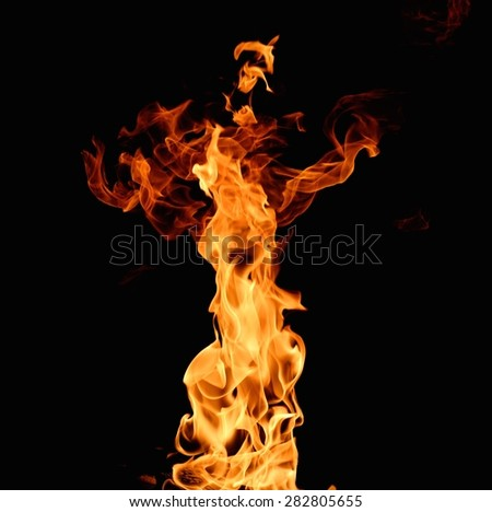Burning flame on black background - stock photo