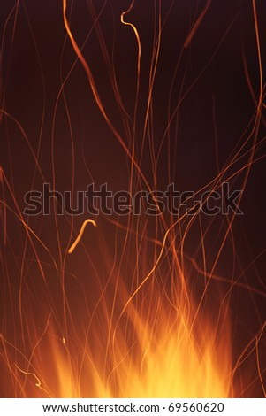 Burning flame or fire isolated on black background - stock photo