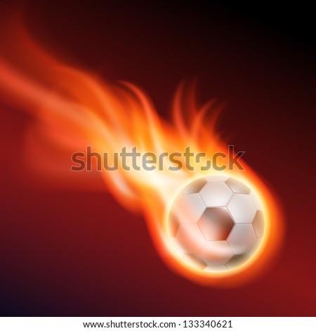 Burning football. Raster version of the loaded vector. - stock photo