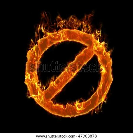 Burning forbidden symbol - stock photo