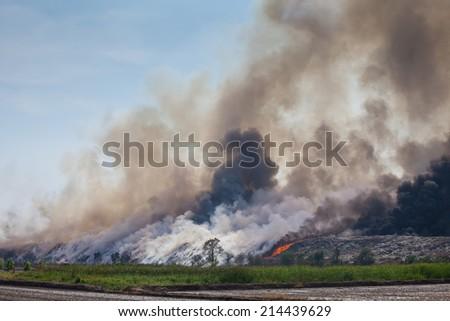 Burning Garbage Illegal Burning Garbage Heap of Smoke