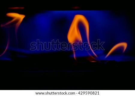 Burning gas on the kitchen gas stove.Burning gas stove on black background - stock photo