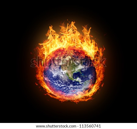 Burning globe earth (west hemisphere) - version with glowing (elements furnished by NASA) - stock photo