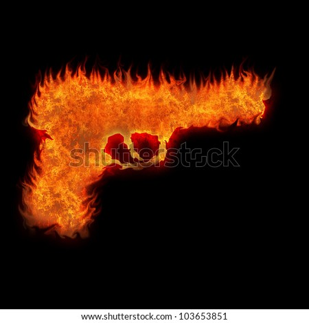 burning gun silhouette fire on black background - stock photo
