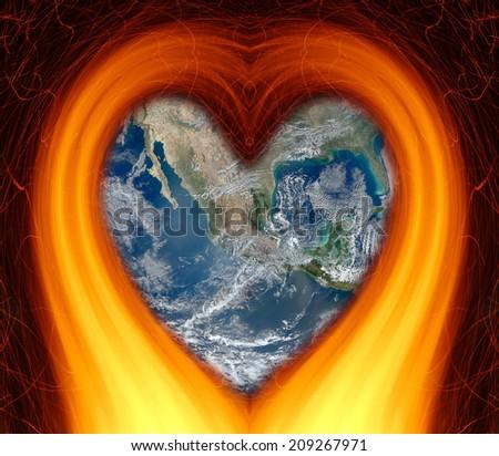 Burning heart globe earth  (elements furnished by NASA) - stock photo