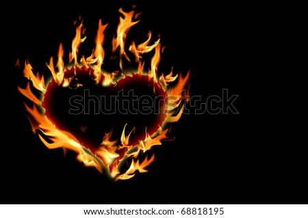 Burning heart on dark background