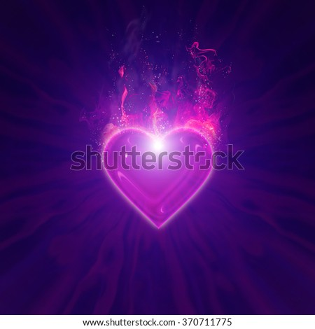 burning heart with fireworks on a dark background - stock photo