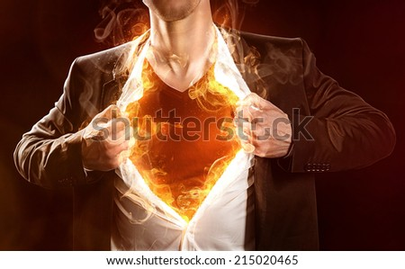 Burning Hero - stock photo