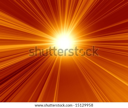 burning hot sun on a red background