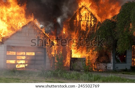 burning house and garage