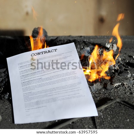 Burning in the flames of the fire document - stock photo