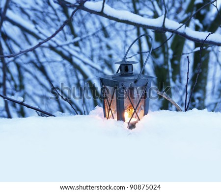 Burning lantern - stock photo
