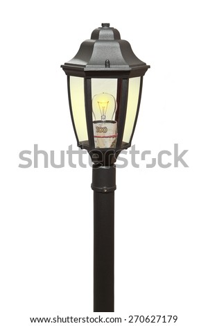 Burning lantern with attached Russian bill - stock photo