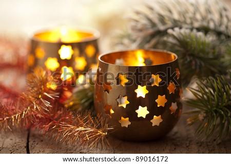 burning lanterns - stock photo