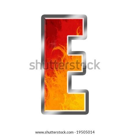 Burning letters alphabet E - stock photo