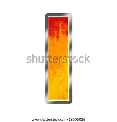 Burning letters alphabet I - stock photo