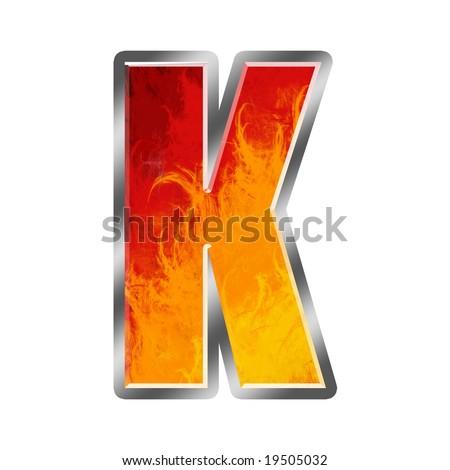 Burning letters alphabet K - stock photo