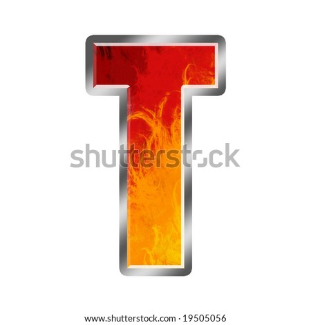 Burning letters alphabet T - stock photo