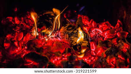burning logs and embers in the fireplace - stock photo