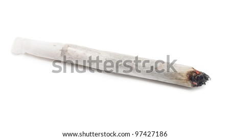 Burning marijuana joint isolated on white background. - stock photo
