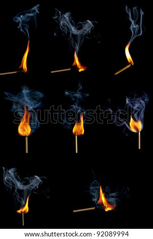 Burning match collection - stock photo